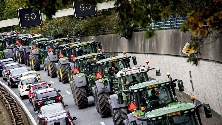 Protest movement: a convoy of tractors in The Hague in October 2019. Farmers were demonstrating against what they saw as scapegoating over nitrogen emissions © ANP/AFP via Getty Images